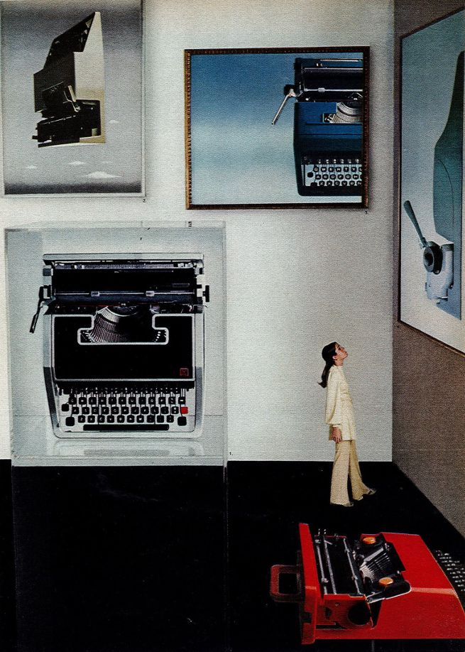 Advertisement for Olivetti typewriters including Valentine, designed by American…
