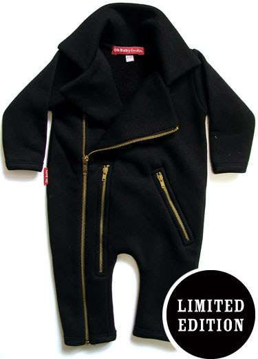 The Oh Baby London Biker Playsuit is a Unique Way to Rock a Baby #topbabytrends #trendykids trendhunter.com