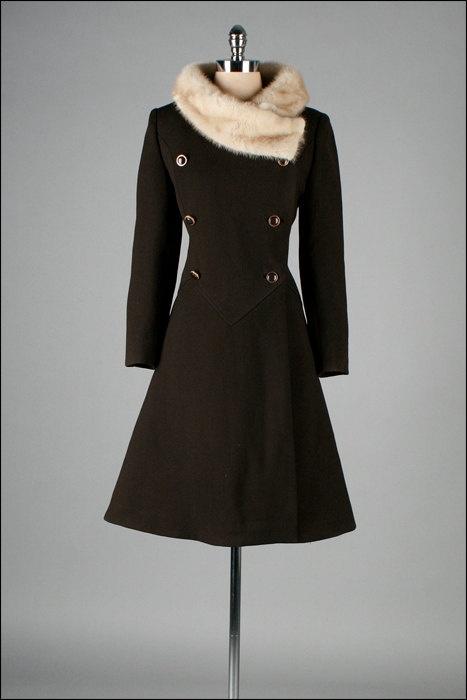 Vintage 1960s Coat  Brown Wool  Mink Fur  by millstreetvintage, $265.00