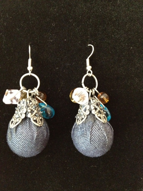 Blue Denim Earring Drop by ExclusiveExpression on Etsy, $9.99