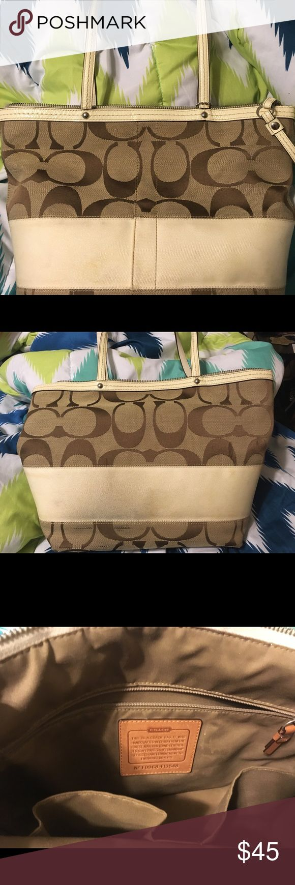 Coach Legacy Striped Tote, signature Jacquard Coach signature Tote natural with ivory, slightly used. Coach Bags Totes