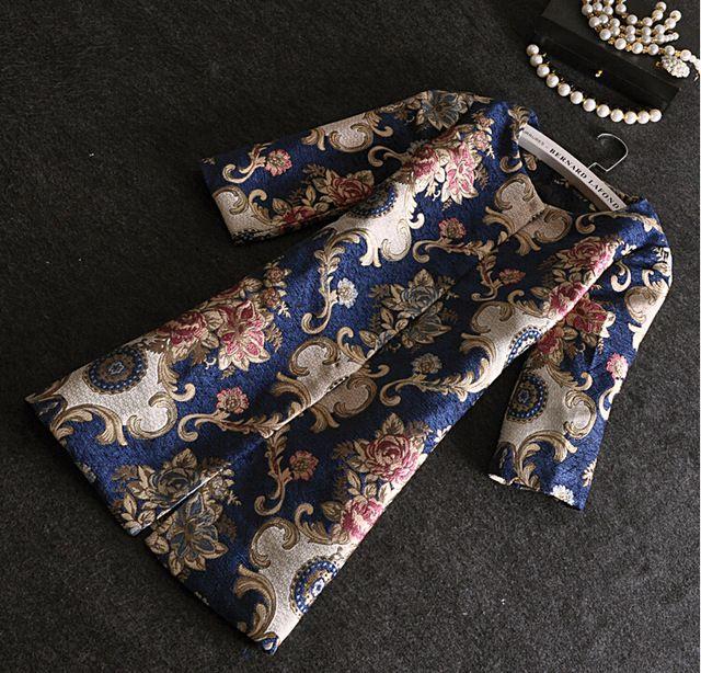 Hiver Laine Manteau Femmes Survêtement Vintage Imprimé floral Tranchée Long Manteau Épais Plus La Taille Casual Lady Parka 2015 Casaco Feminino