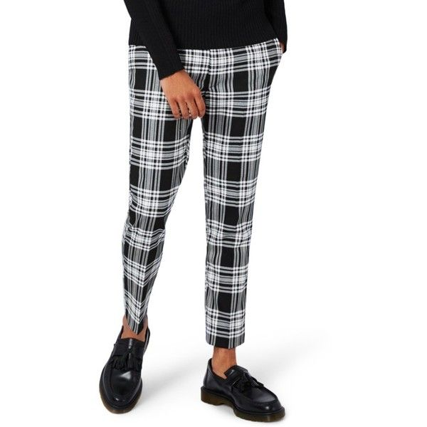 Men's Topman Plaid Ultra Skinny Fit Crop Trousers (1 800 UAH) ❤ liked on Polyvore featuring men's fashion, men's clothing, men's pants, men's dress pants, black multi, mens skinny pants, mens cropped pants, mens skinny fit dress pants, mens super skinny dress pants and mens plaid skinny pants