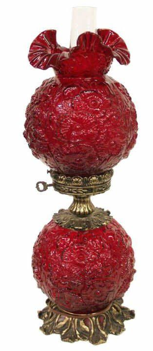 FENTON GONE WITH THE WIND STYLE RUBY RED LAMP