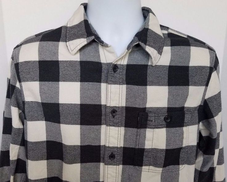 Gap mens plaid flannel long sleeve shirt size medium elbow patches #Gap #ButtonFront
