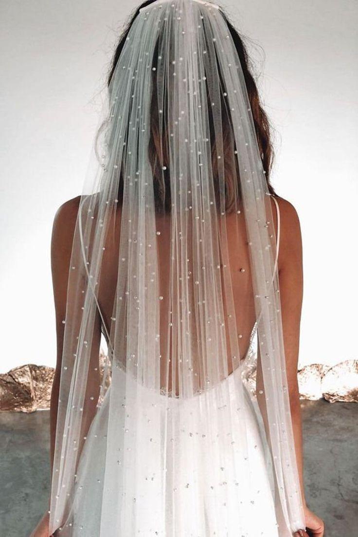Wedding veil floral veil pearls veil pearl edge veil ivory | Etsy
