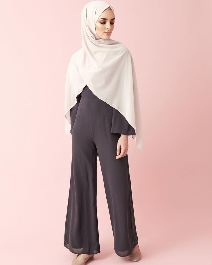 INAYAH | New In | Exude effortless style with our smart and modest jumpsuit.  Charcoal Kimono Sleeve Jumpsuit  Sand Soft Crepe Hijab  www.inayah.co