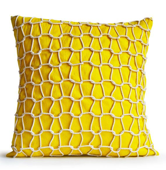 Yellow Decorative Designer Throw Pillow Cushion by AmoreBeaute