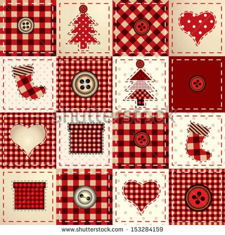 Seamless Christmas background in patchwork style. - stock vector