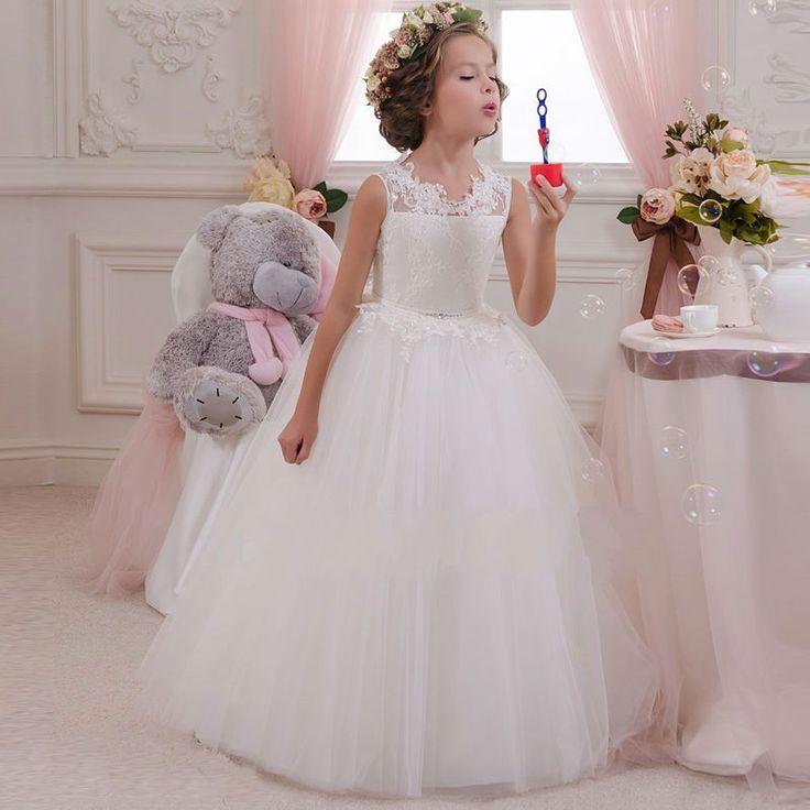 2016白いフラワーガールドレス子供ボールガウン初聖体ドレスページェント女の子グリッツスクープノースリーブ床長さチュール