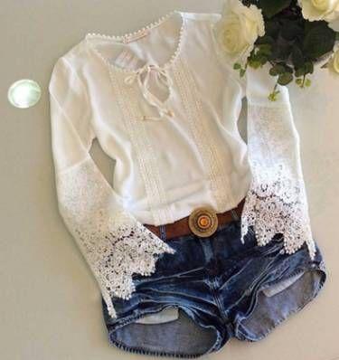 blusa de renda manga flare - menina sem marca