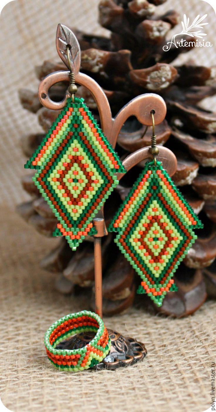 Bead weaved earrings / Купить Комплект украшений из бисера серьги кольца Русалка - комплект украшений купить