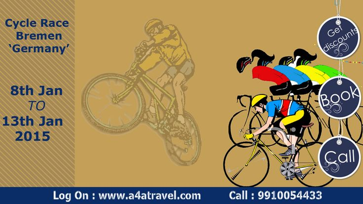 Participate in Cycle Race Bremen ,Germany with cheap international air tickets, hotel booking &best holiday packages. logon: www.a4atravel.com #chaepairtickets #hotelbooking #holidaypackage