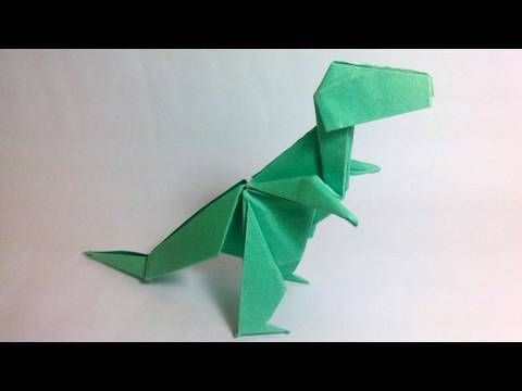 """How to make an origami T-Rex    Created by John Montroll  http://www.johnmontroll.com/    Presented here by Jo Nakashima with permission of the creator    ----------------------------------------------------------------------------------------------------------------------------  MY FACEBOOK PAGE!   http://www.facebook.com/JoOrigami  Visit and """"..."""