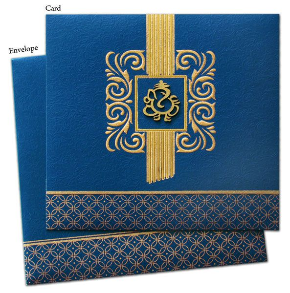Regal Hindu Wedding Marriage Invitation Cards - rohits blue / ours pink