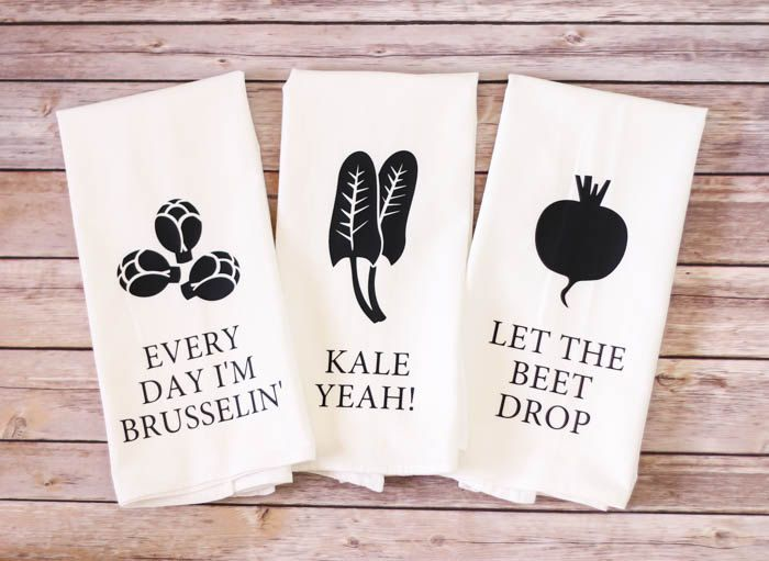Funny Song Lyric Tea Towels - Every Day I'm Brusselin', Kale Yeah, Let The Beet Drop by A2DCreations on Etsy