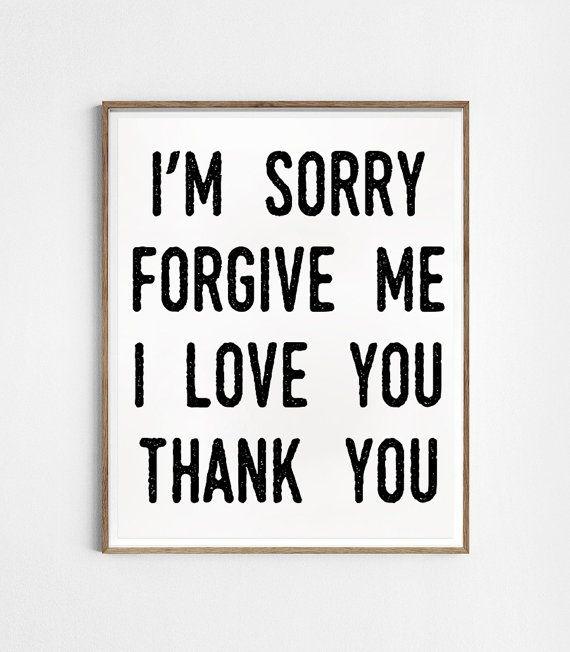 I'm sorry. Forgive me. I love you. Thank you. por Byoliart en Etsy