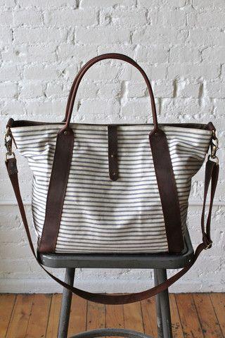 1950's era Ticking Fabric Weekender - FORESTBOUND