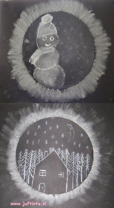 Winter wit krijt, zwart papier - bal