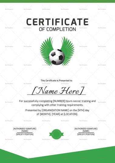 Soccer Completion Certificate Template Certificate Design