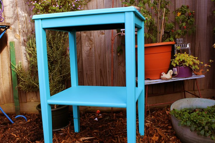 Aqua wooden pre-loved side table with extra shelf.  68.5cm high, 45.5cm wide. $40 SOLD