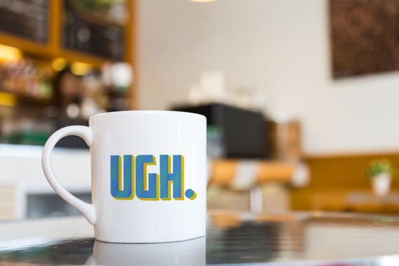 UGH Cool Text Mug Big Font by dungishop on Etsy