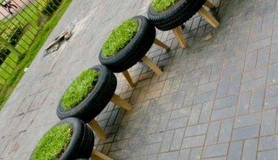 Decoración con neumáticos reciclados
