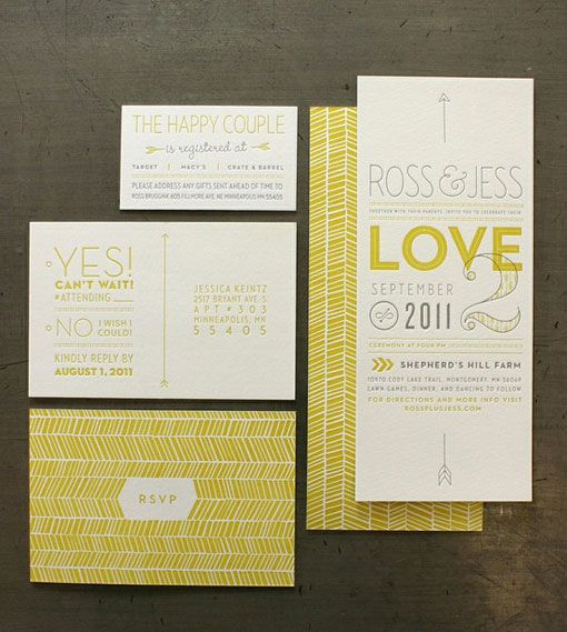 Yellow and Grey Wedding Invite Suite via designworklife. Love the typeface mix, not the colors - - For you guys I would say cranberry and muted or dusty green, grey blue, lavender or a mint color for a highlight