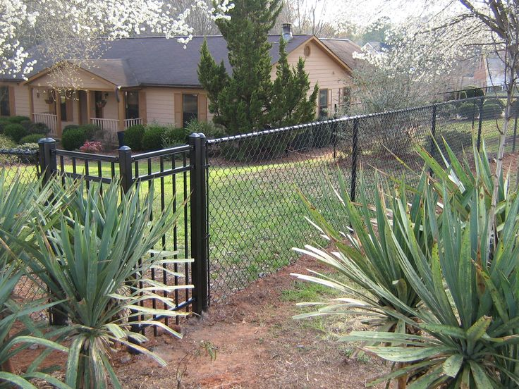 Residential Chain Link | Chain Link Fences | McDonough GA Fence Co. - Black Chain Link With Steel