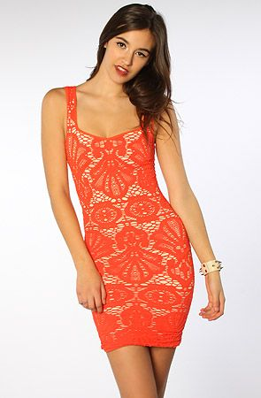 The Seamless Medallion Sweetheart Slip in Red Hot Combo by Free People