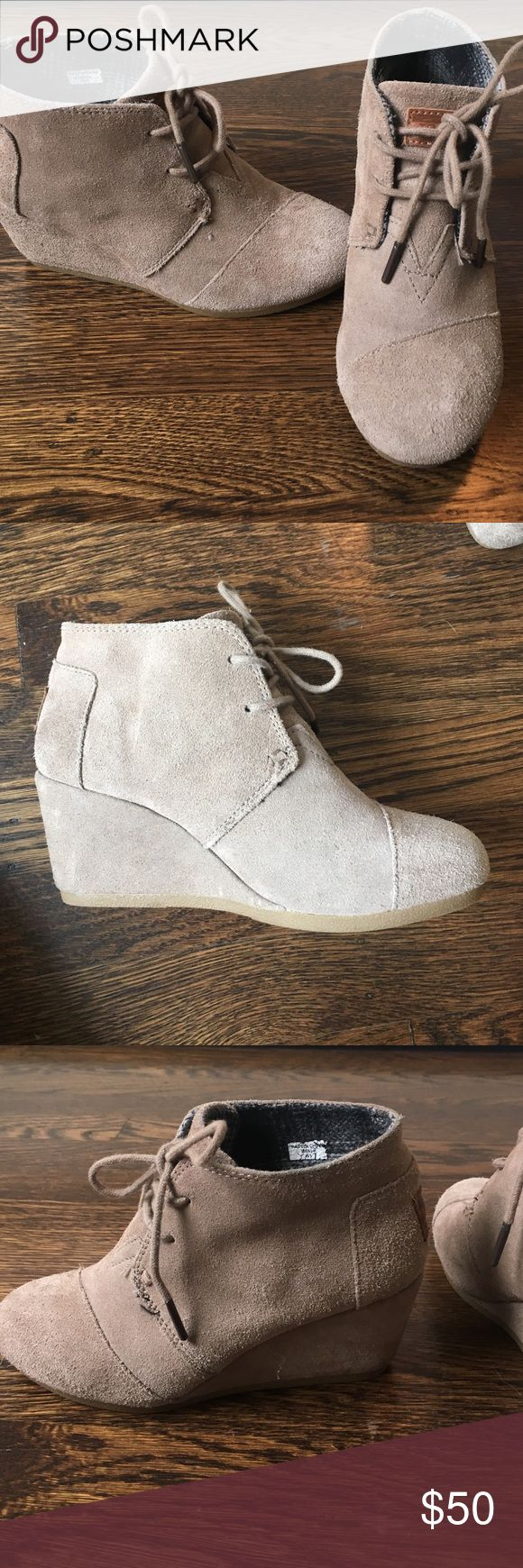 TOMS high heel boots Super cute comfy boots, very easy to walk in. Toms Shoes Heeled Boots