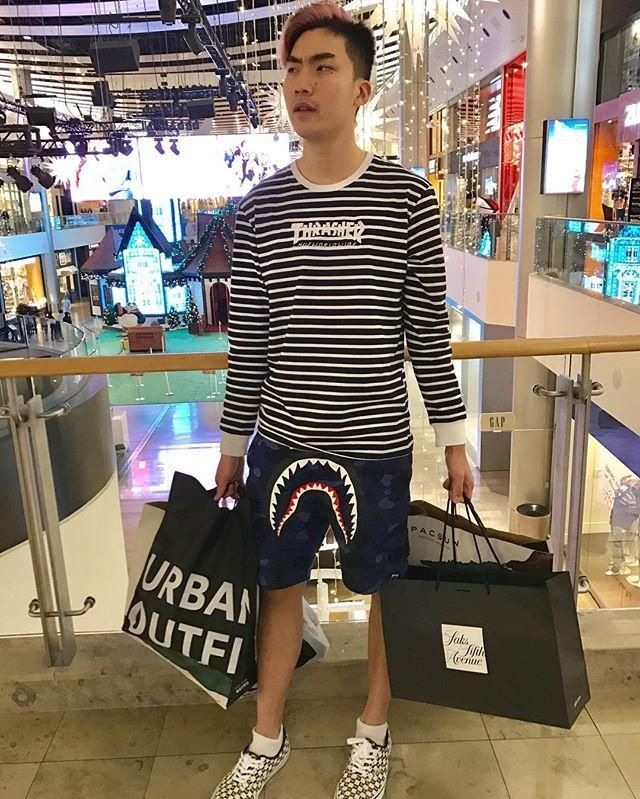 RiceGum goes shopping in his striped t-shirt by Thrasher  773d93fed
