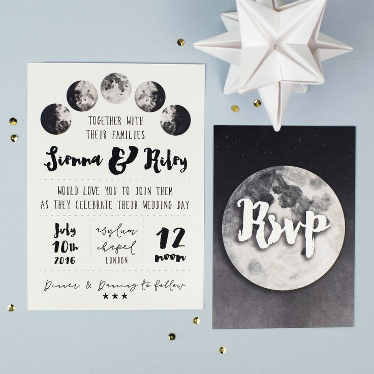 These gorgeous lunar wedding invitations feature beautiful watercolour illustrations of the phases of the moon