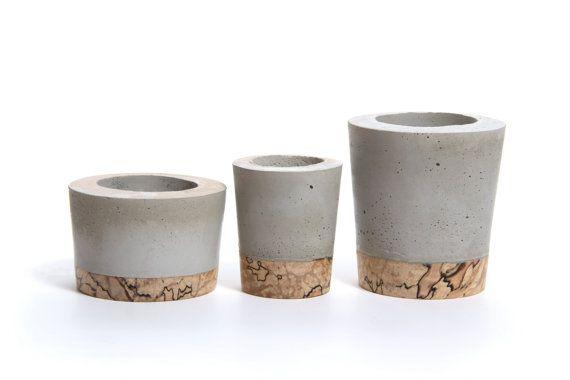 Mini Potes de Cimento c/ Base de Cortiça
