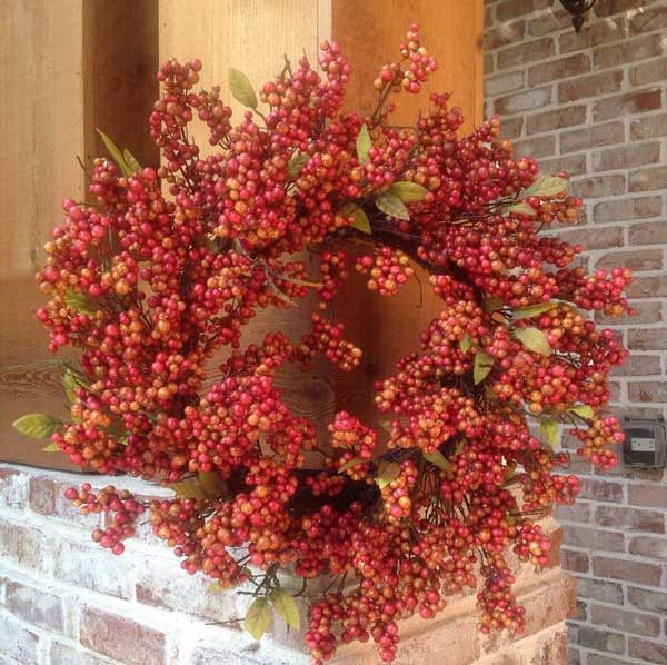 Soft Touch - Vintage Autumn Berry Wreath - 24""