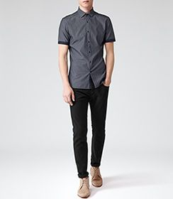 Mens Denim Short Sleeve Chambray Shirt - Reiss Kitts