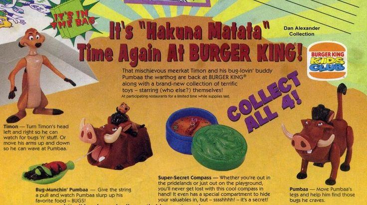 Vintage Burger King 1994 The Lion King Timon & Pumbaa complete set of 4 toys MIP    eBay