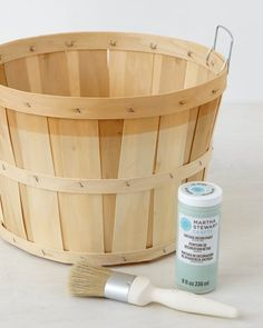 basket. MS Crafts Vintage Decor Paint in pastels  Clear Wax  Brush Orchard basket Sandpaper Cotton cloth (optional) Vintage Decor brush, paint the orchard basket with the color of your choice as seen in the picture. After basket is completely dry, lightly sand the painted surface to smooth it out. As an optional step, take a clean cotton cloth and apply a layer of Clear Wax. Let dry. http://www.marthastewart.com/1082310/vintage-painted-orchard-baskets?xsc=eml_living_2014_09_12