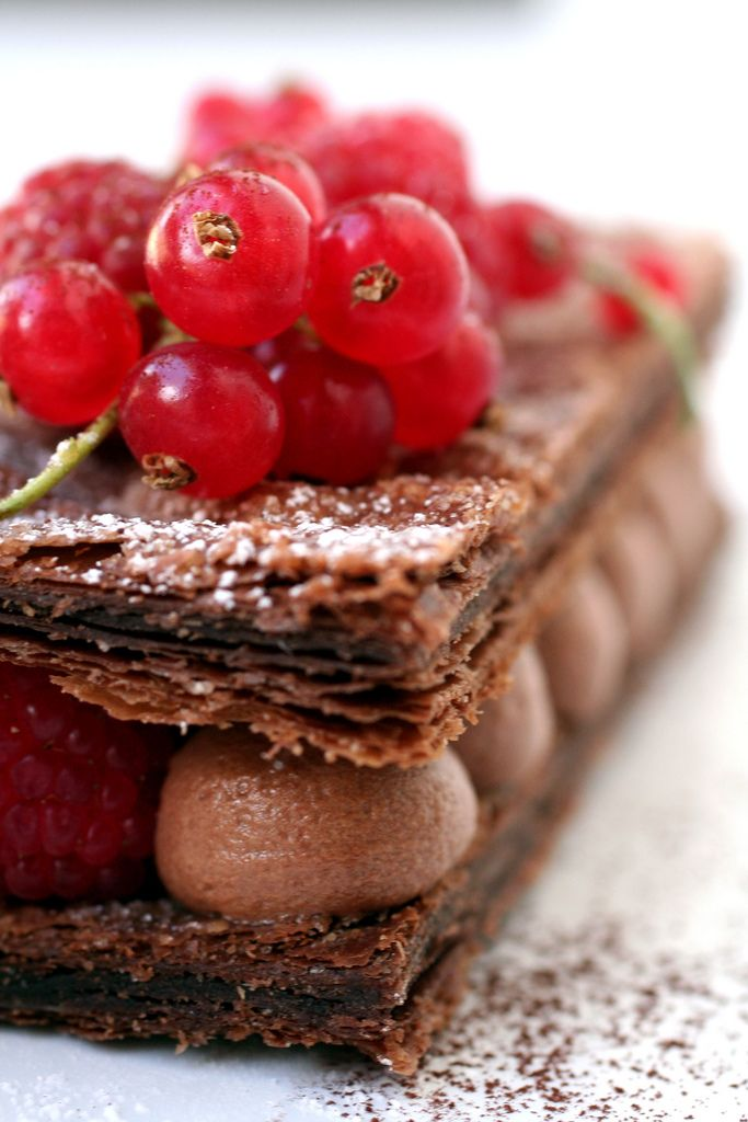 Chocolate And Raspberry Mille Feuille Dessert Gourmet