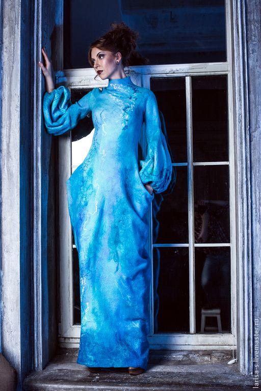 """Купить Валяное платье """"Голубые сумерки"""" - бирюзовый, абстрактный, Мокрое валяние, Валяние, валяная одежда"""