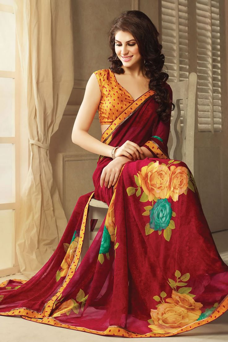Maroon Designer Party Wear Sarees From Onlinesareessshopping.com