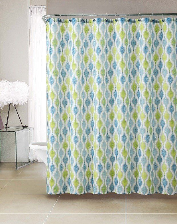 Pretty Bright Blue Green Embossed Microfiber Shower Curtains X