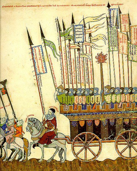 7. Llull en marxa contra la torre de la falsedat. Breviculum, 1307.