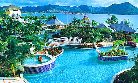Visit the Sandals resort in St. Lucia-maybe an anniversary trip one year?