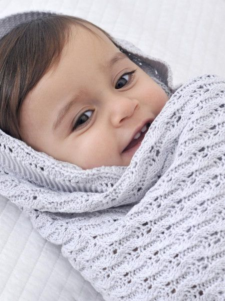 Designed in Australia, this pure cotton baby shawl in its soothing grey tone is ideal for a little girl or boy as a gorgeous Christening shawl or a blanket for special occasions.  It features a vintage traditional lattice knit design and measures a generous 100 x 80cm.  This Little Bonbon baby shawl is presented in a beautiful gift tube.