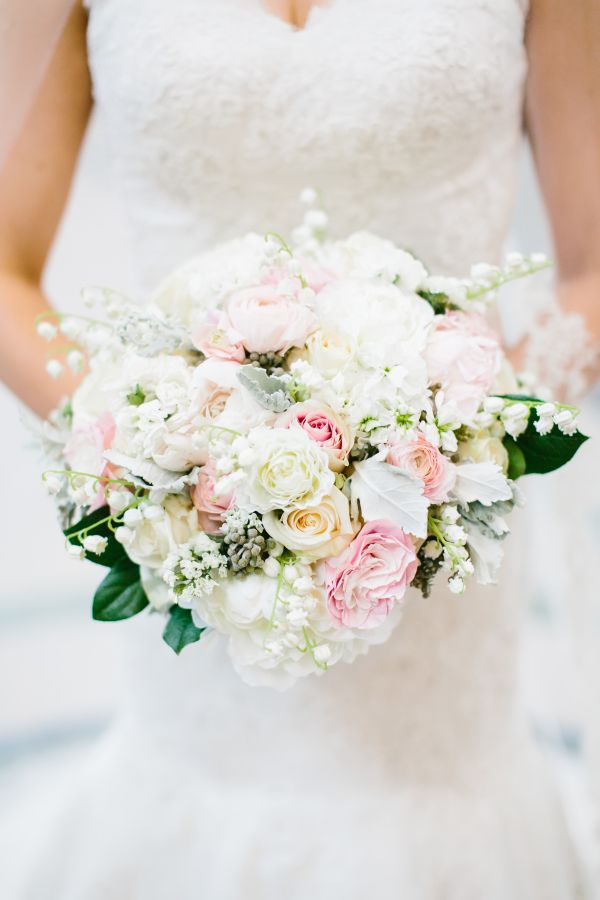 Ivory Bridal Bouquet with Pink | photography by http://pencarlson.com/