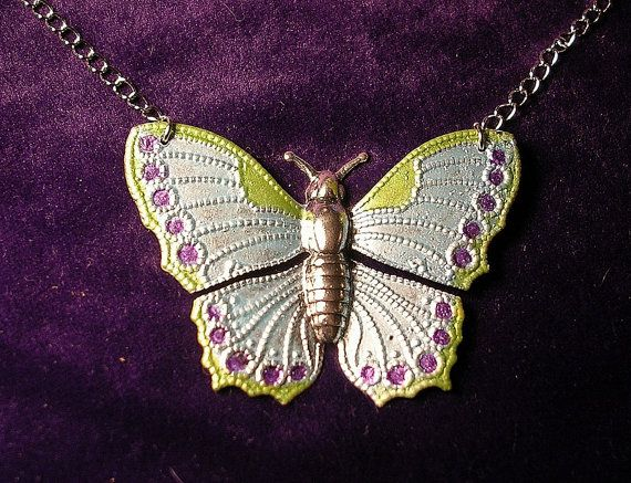 Hand Painted Butterfly Necklace in Pastel by JanHallDesigns