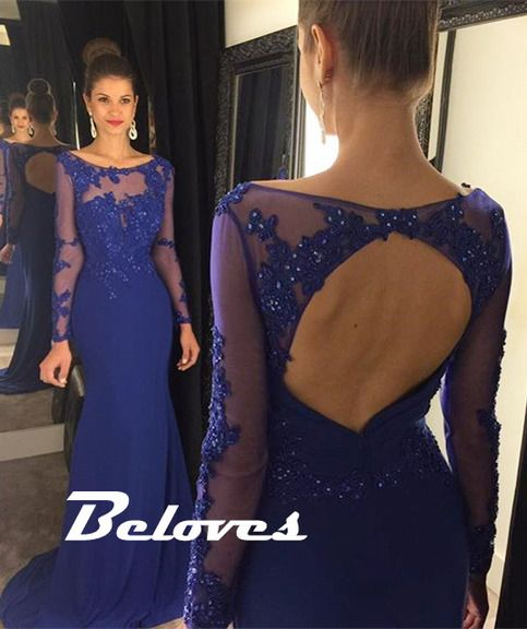 Perfect royal blue colors , beaded lace appliques on the bodice , sheer long sleeves and sexy open back complete its perfect look   Fabric:Chiffon  Color: Royal Blue Neckline:Boat Neckline Silhouettes:Fit And Flare Back Detail: Open Back Length: Floor Length Embellishments: Beading, Lace Appl