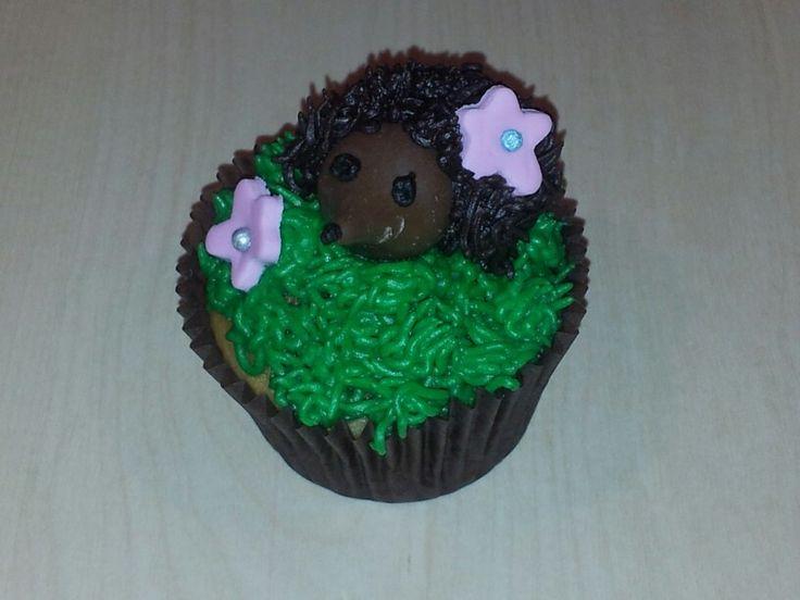 Hedgehog cupcake for SPCA cupcake day 2013. Vanilla cupcake, vanilla butter cream (grass), chocolate butter cream (hedgehog), fondant flowers, chocolate decorations.