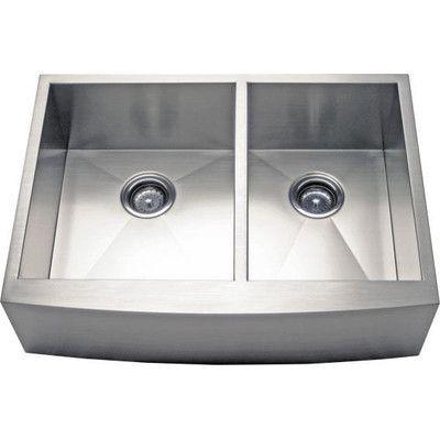 "Alpha International 36"" x 21.63"" Apron Farm 60/40 Double Bowl Kitchen Sink"